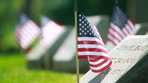 Military Grave with US Flag